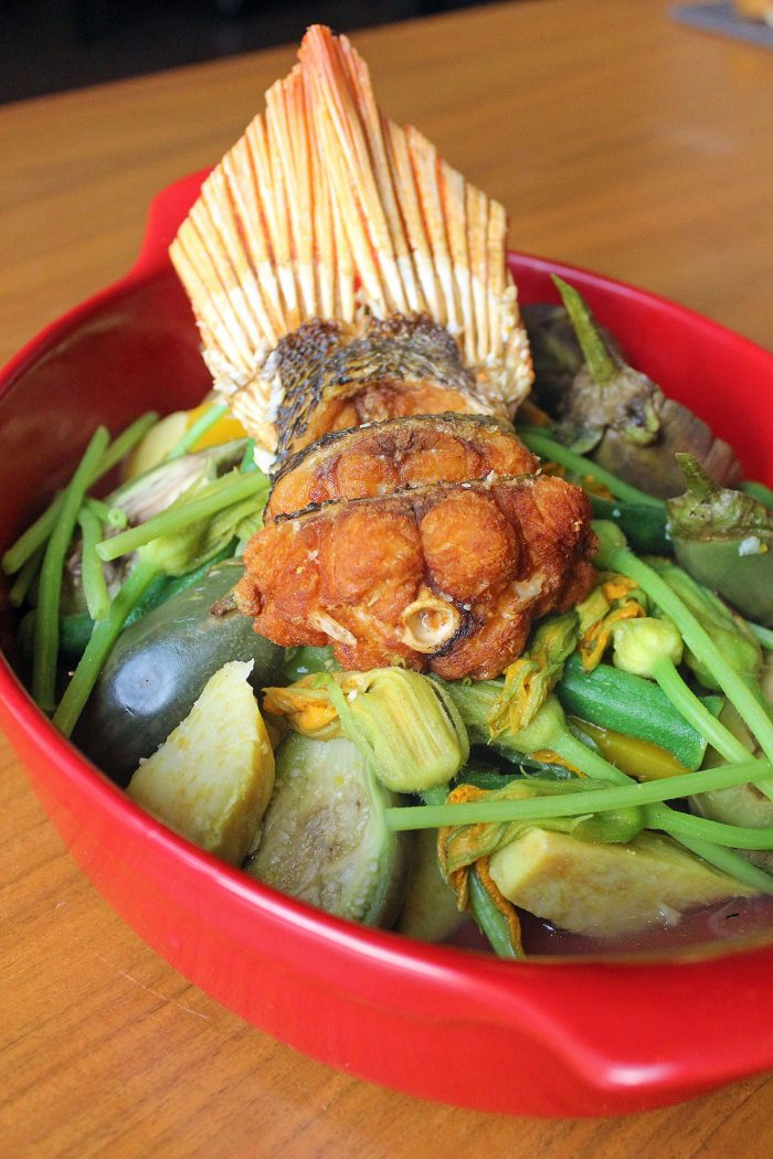 Ilocano Flavors Boiled Mixed Vegetables with Fried Fish (Dinengdeng)