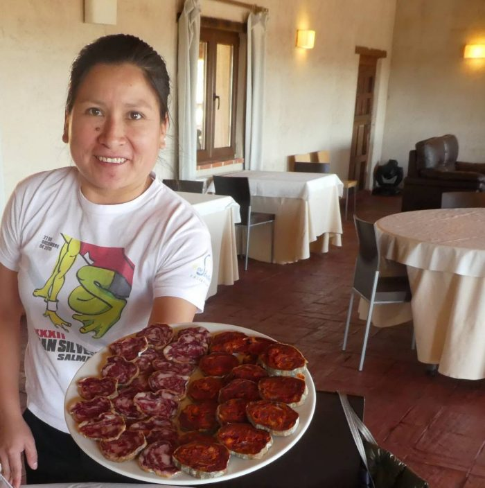 A platter of ranch–raised and made chorizo to start the meal