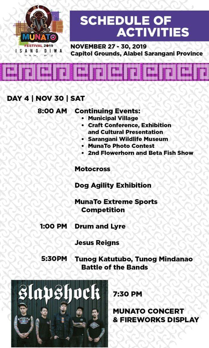 2019 Munato Festival Schedule of Activities