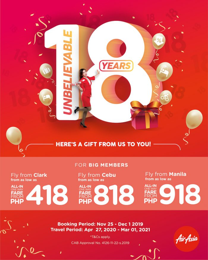 AirAsia is celebrating its 18th birthday with a special anniversary promotion