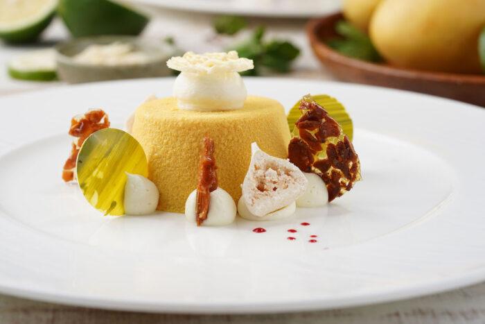 Mango Passionfruit Tart with Almond Nougatine and Lime Meringue