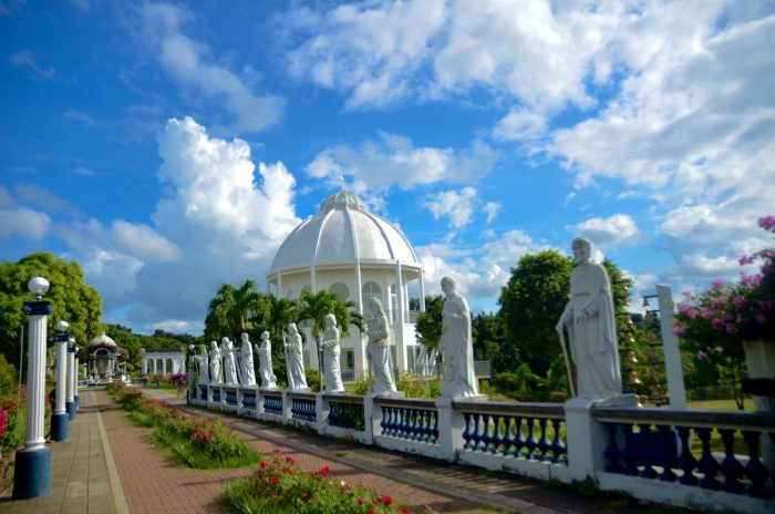 The Marian Orchard has numerous religious sculptures and prayer sites, fruit-bearing trees and colourful flowers, plus a perfect view of Mt. Maculot