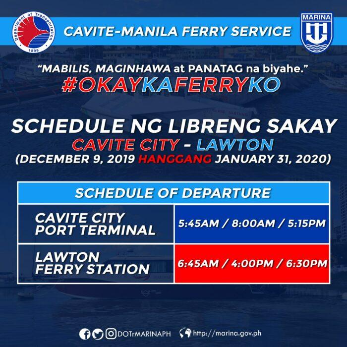 Cavite-Manila Ferry Service Free Ride
