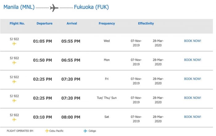 Cebu Pacific Manila to Fukuoka Flight Schedule as of December 2019