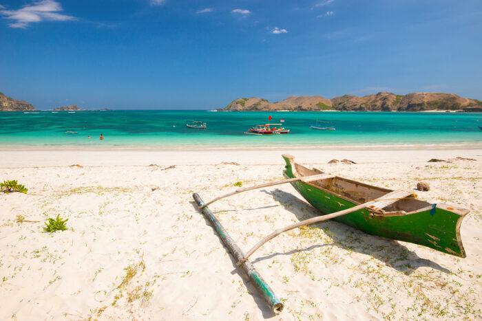 Fishing boat on Tanjung Aan Beach - Lombok, Indonesia