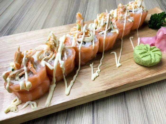 Geisha Maki Roll - Marinated Kamaboko Salad in Fresh Salmon Roll