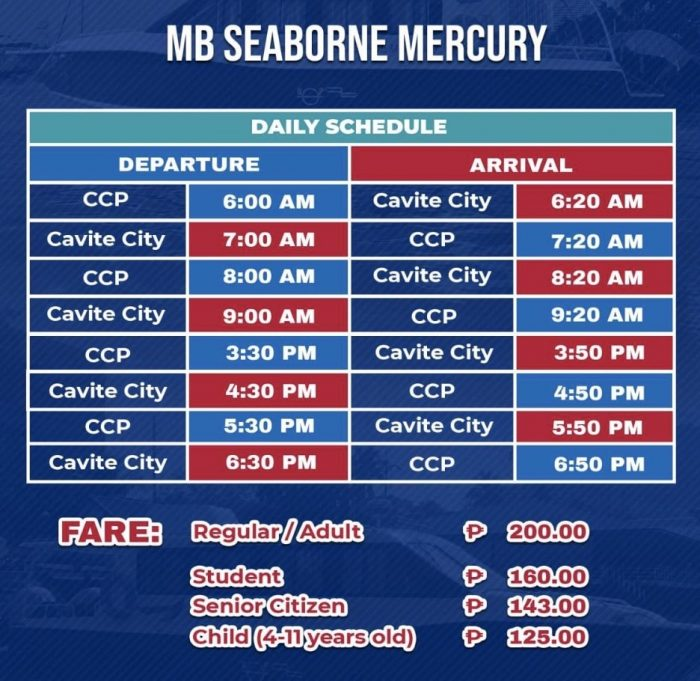 MB Seaborn Mercury Cavite to CCP Daily Schedule and Fare Rates