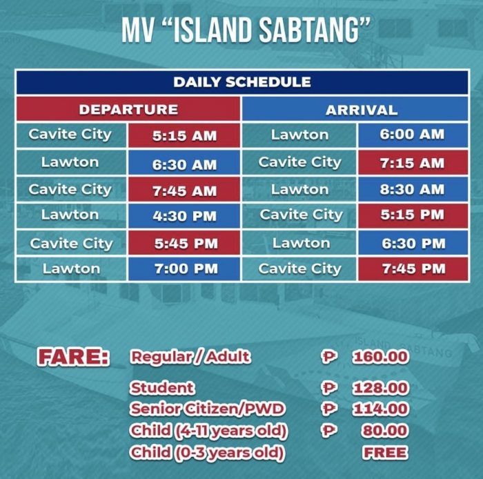 MV Island Sabtang Cavite City to Lawton Ferry Schedule and Fare Rates