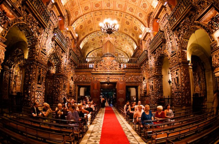 Monastery of Sao Bento Church Interior photo by Patricia Figuerira via Wikipedia CC