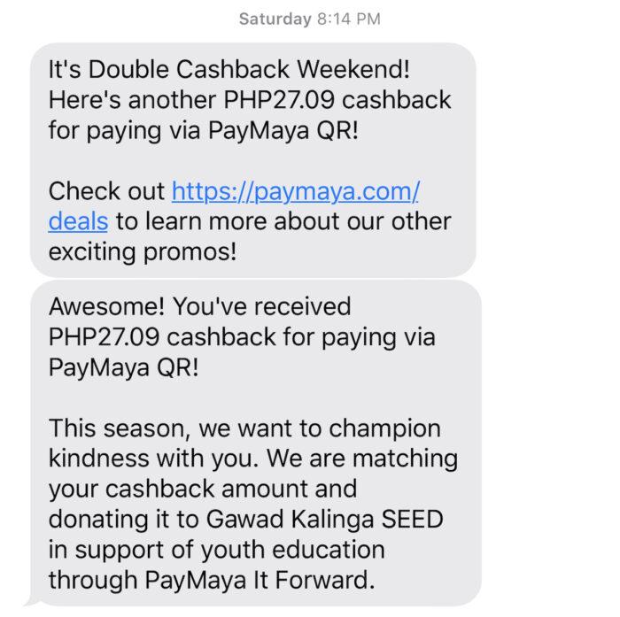 PayMaya Double Cashback Weekend