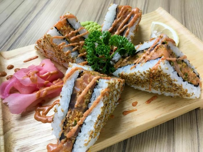 Sushi Sando -Tuna and Salmon Marinated in Aokakesu Spicy Paste