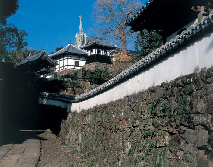 View of a Temple and a Church, Hirado City