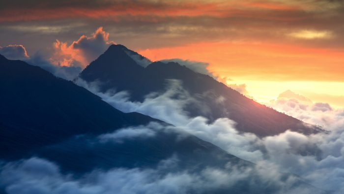 sunset with mount rinjani and sangkareang view from pergasingan hill