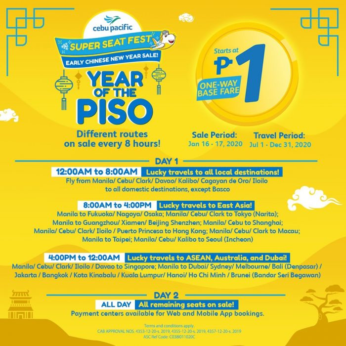 Cebu Pacific Year of the Piso Seat Sale