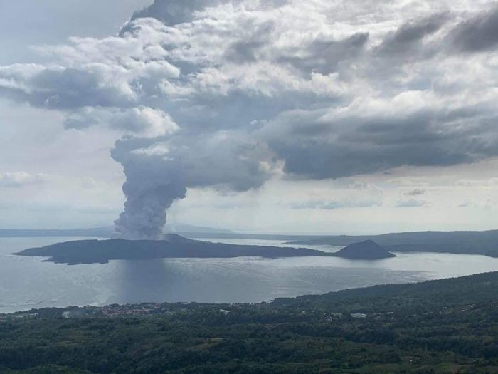 Eruption of Taal Volcano photo via Reddit
