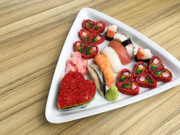 Sushi is given a romantic twist in this special dish for Kitsho's Valentine dinner