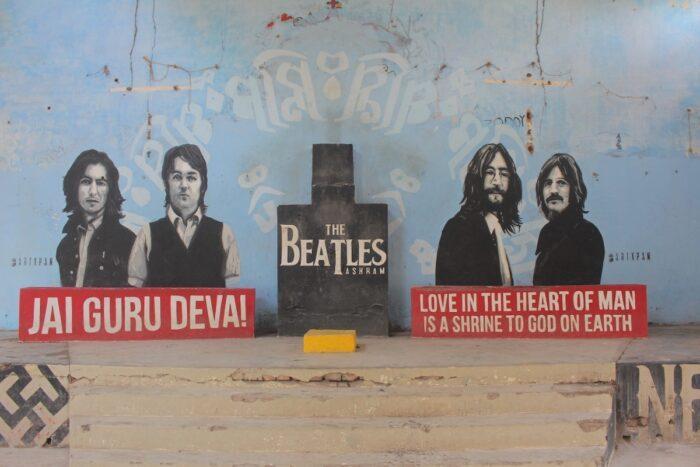 Portraits of Paul, John, George and Ringo painted on the wall of the former hall of the Maharishi Mahesh Yogi's Ashram