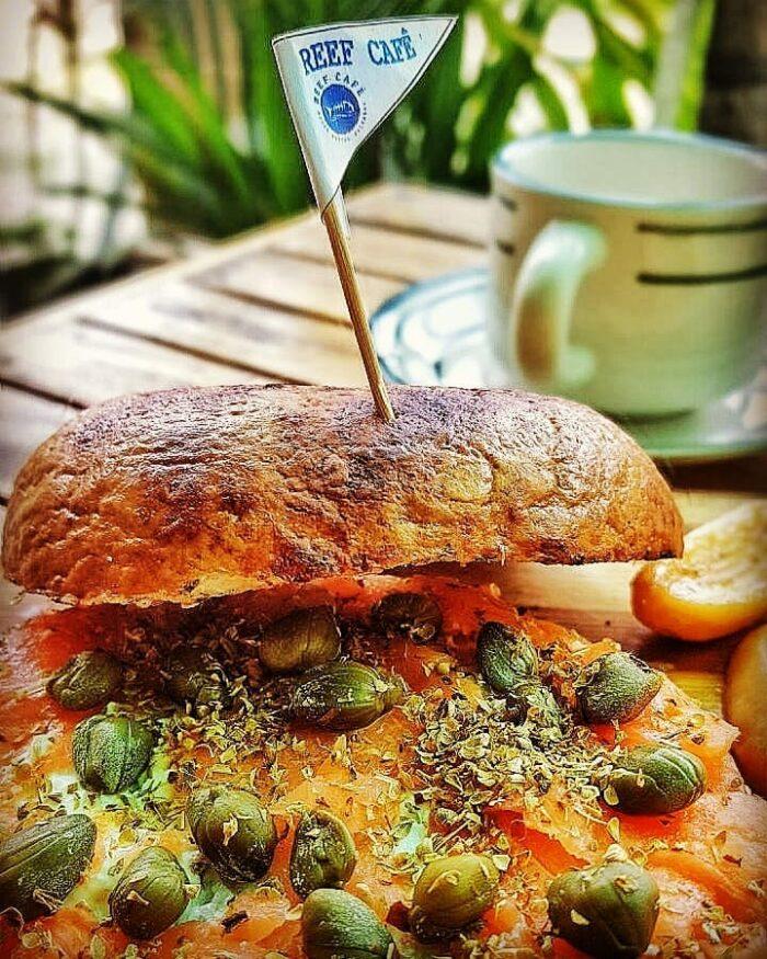 Breakfast bagels at Reef Cafe Port Barton