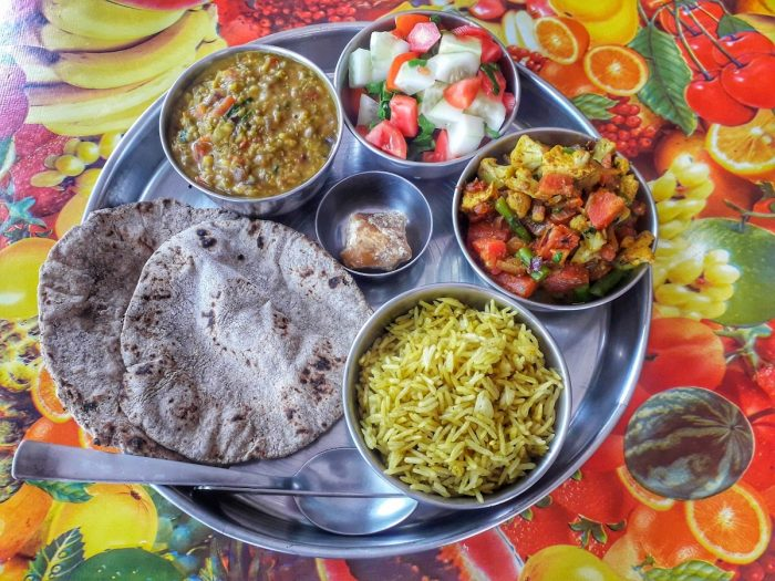 Thali meals are a must when in India. This is a plate of thali from Chotiwala