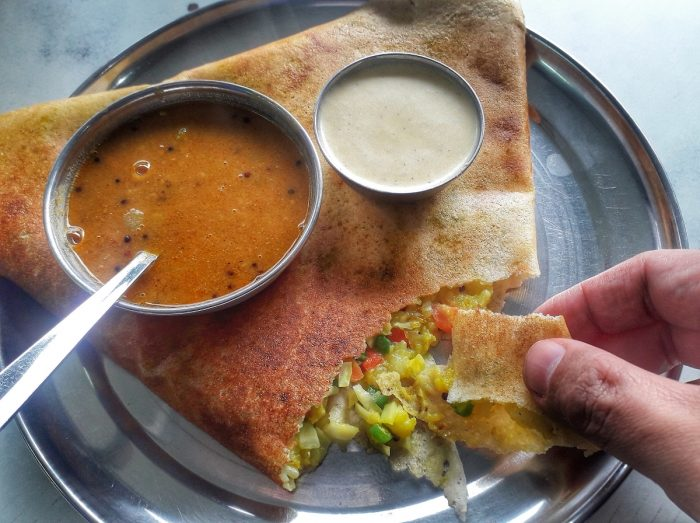 Food in India and in Rishikesh especially, is very affordable. This Veg Masala Dossa is only 90 Rupees