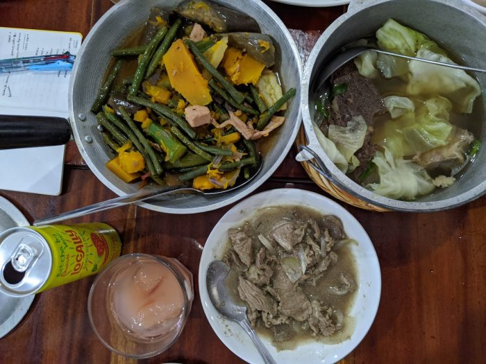 Kinigtot, pinakbet, and bulalo, with guava juice from Locally