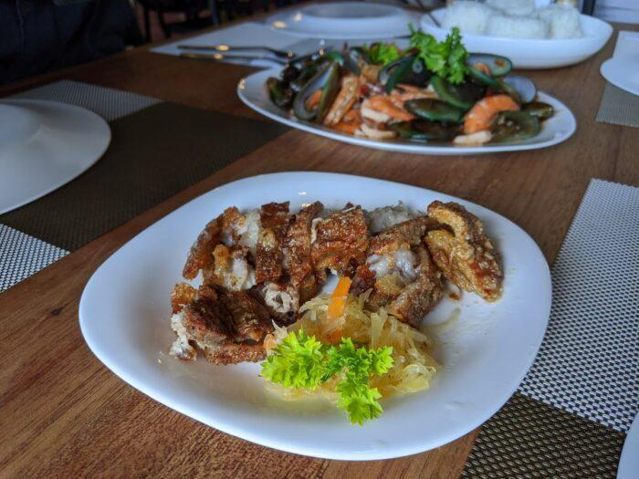 Lechon kawali and seafood medley