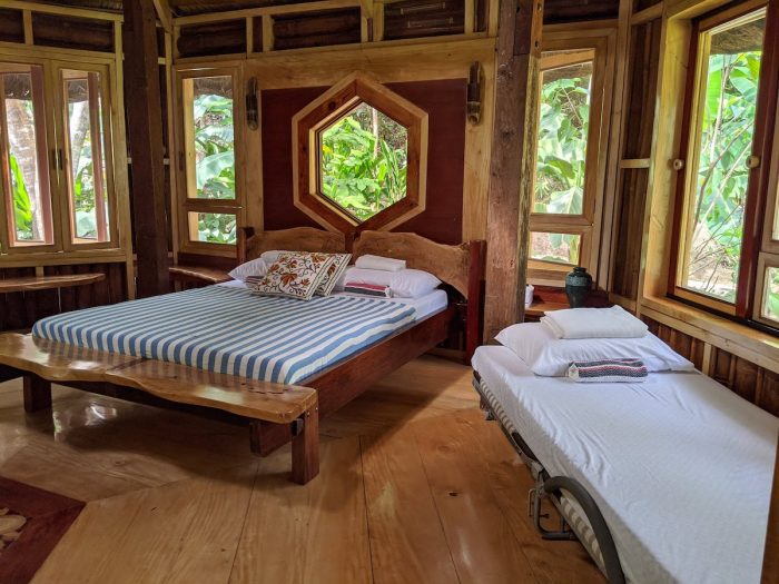 Master bedroom in one of the huts