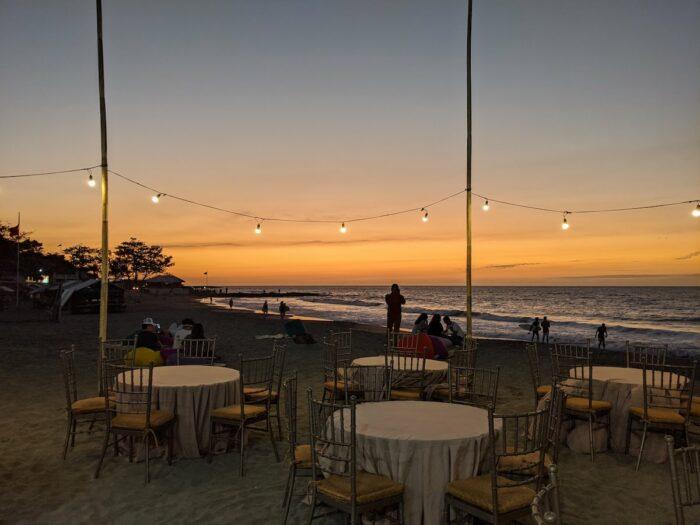 Our lovely beach dinner set up at Kahuna Resort