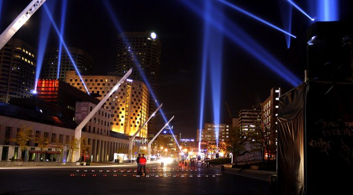 Place des festivals, at night photo by art_inthecity via Wikipedia CC