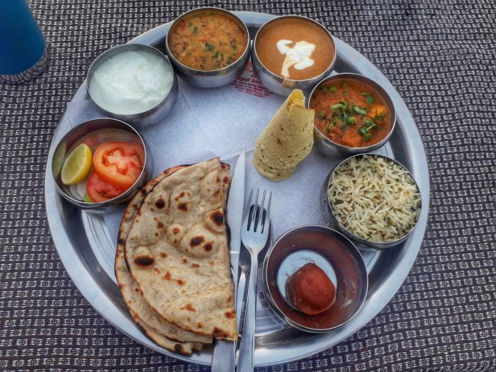 A veggie Thali meal served in Hawk View