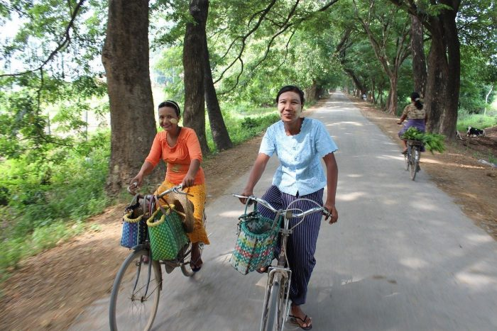 Locals using Bike as a mode of transport in Myanmar