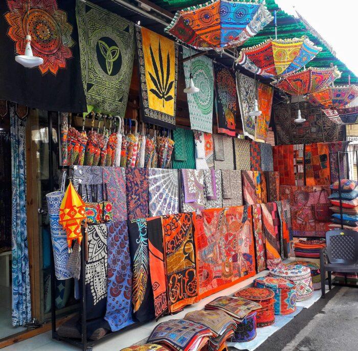 Colorful bazaar shops fill the streets of Pushkar