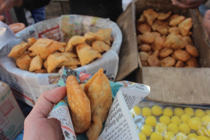 A 5 rupee Samosa is just one of the cheap street food you will find in Pushkar