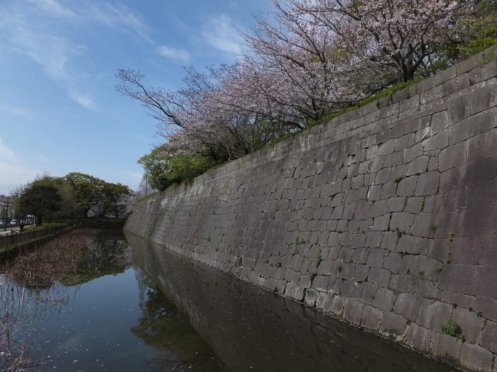 Water moat and stone wall of Kagoshima Castle by Vanquish0 via Wikipedia CC
