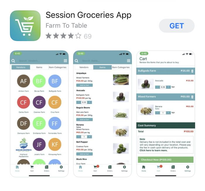 Session Groceries Farm to Table App