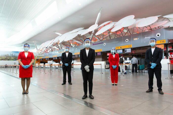 GTR Guest Service Agents wearing Personal Protective Equipment on duty at Kuala Lumpur International Airport (klia2) in Kuala Lumpur.