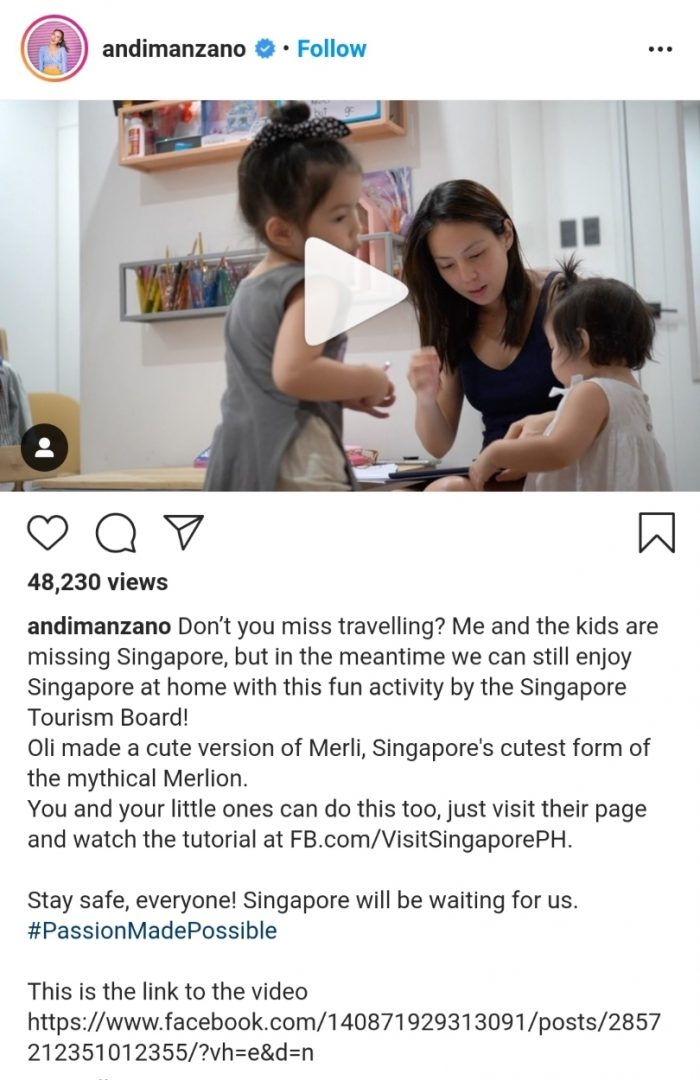 Andi Manzano-Reyes and daughters, Olivia and Amelia took a trip down Singapore memory lane through a fun drawing tutorial of Singapore Tourism Board's Merli. Singapore has recently launched an array of fun online activities for the whole family to enjoy to allow them to keep exploring and discovering the Lion city.