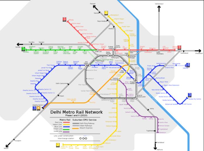 Map of New Delhi Metro Train System