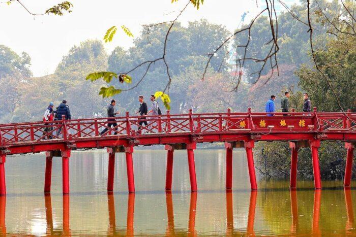 Red bridge on Hoan Kiem Lake in Hanoi