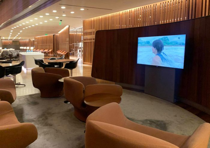 The empty airport lounge at the Hamad International Airport in Doha.