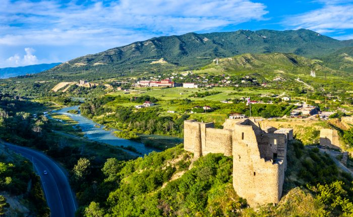 Bebris Tsikhe fortress near Mtskheta in Georgia photos via Depositphotos