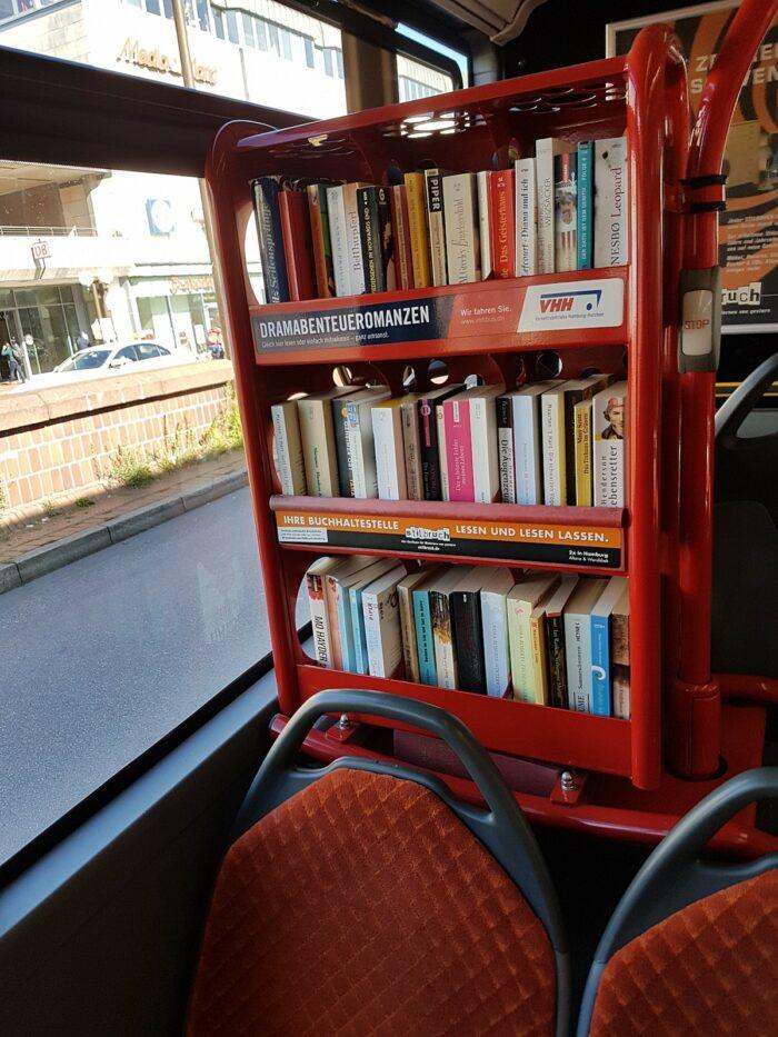 Books on buses in Hamburg photo by Raed Halabi via Facebook