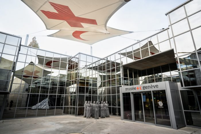 Entrance of International Museum of the Red Cross and Red Crescent in Geneva Switzerland photo via Depositphotos