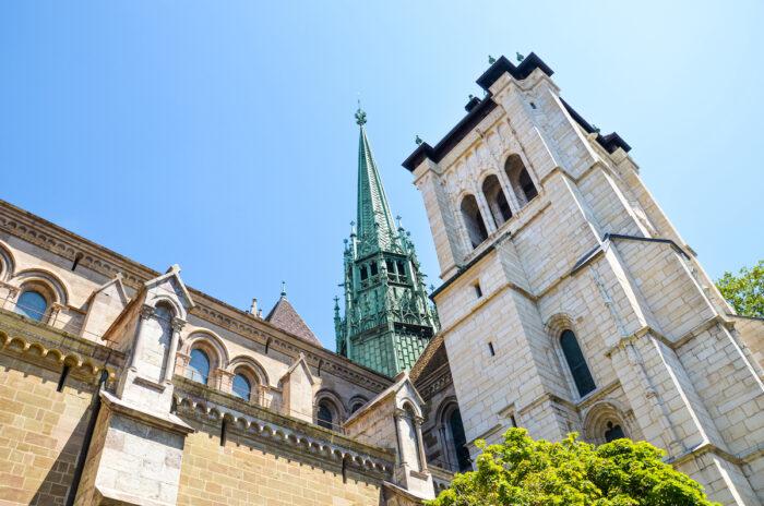 Exterior of St. Pierre Cathedral in Geneva, Switzerland photo via Depositphotos