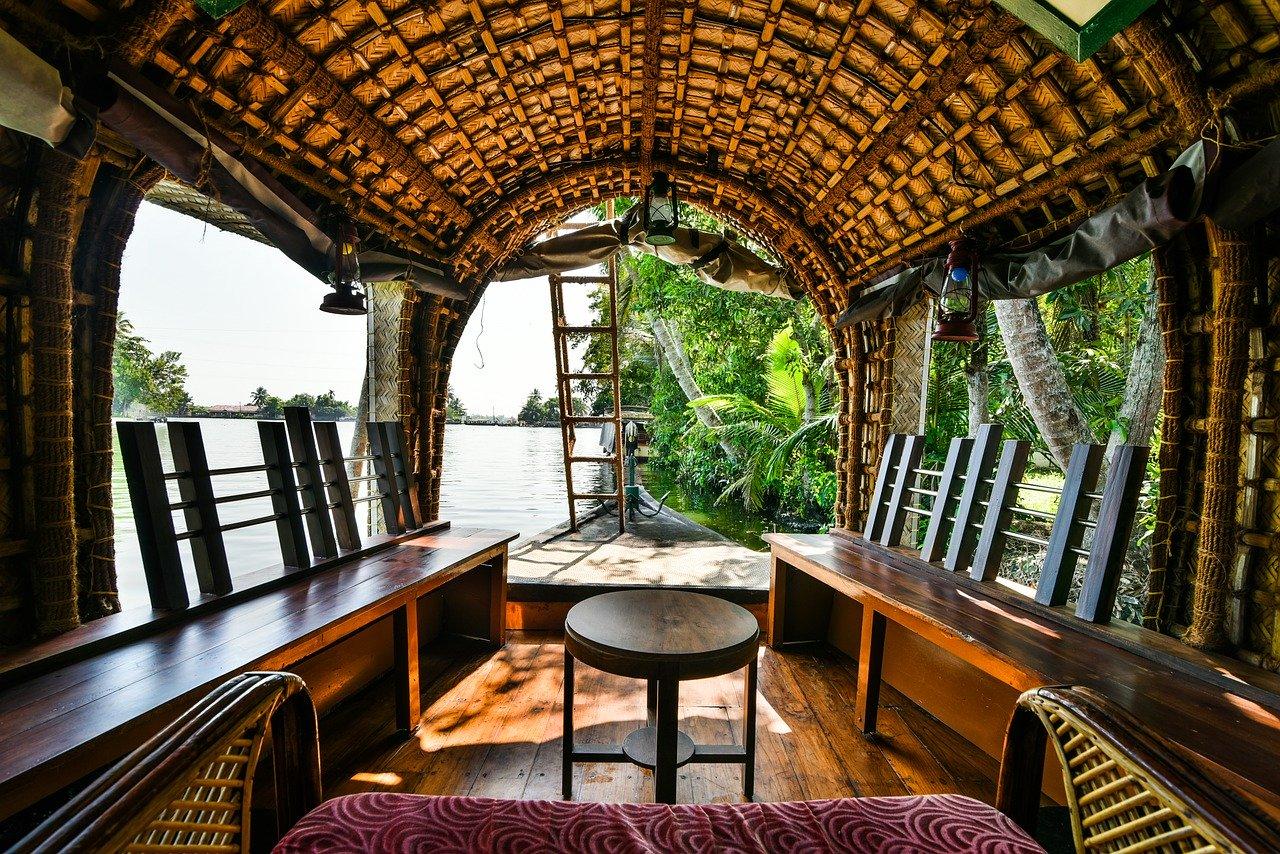 Inside a boathouse in Kerala