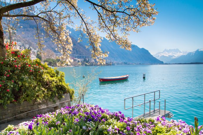 Montreux Riviera of Lake Geneva photo via Depositphotos