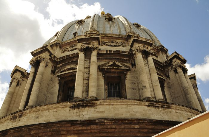 The dome up close to the Basilica's roof.