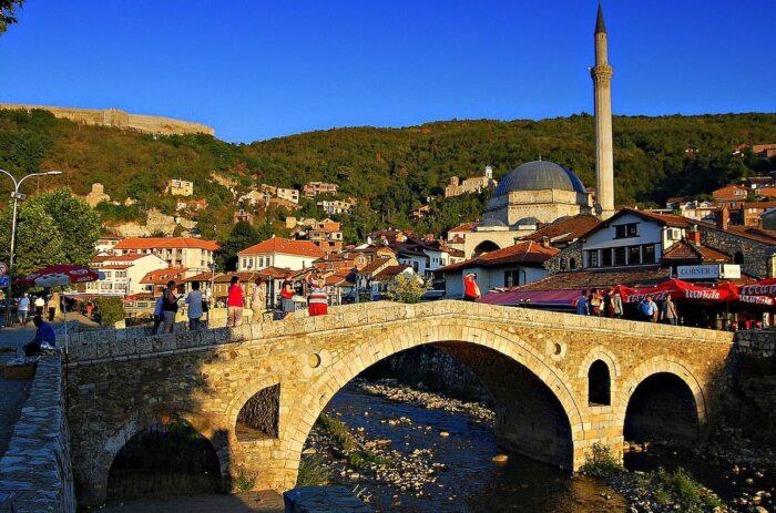 The old Stone Bridge and city of Prizren, Kosovo by Bujar Gashi via Wikipedia CC