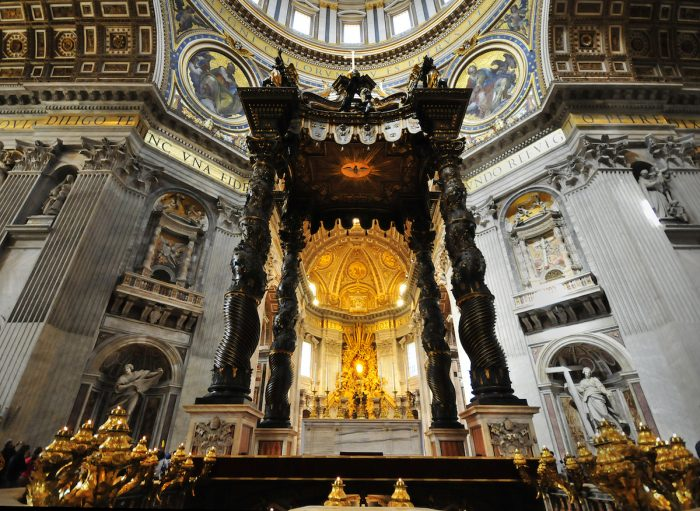 This is the 28-meter high Baldacchino where the pope says mass at the main altar.