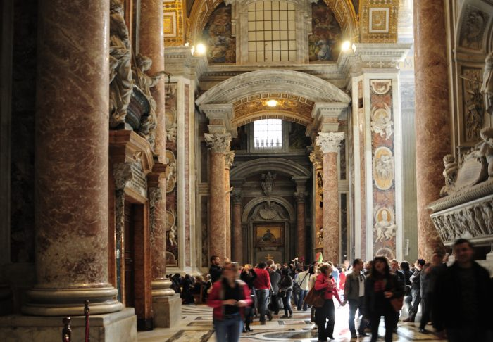 Home.fit This-is-the-interior-vestibule-once-you-enter-the-large-doors.-700x486 Europe Visita Iglesia #7: St. Peter's Basilica in Rome, Italy